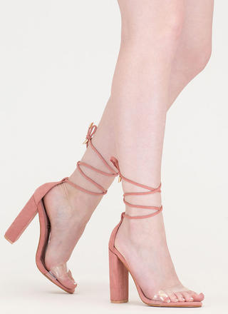 In The Clear Lace-Up Faux Suede Heels