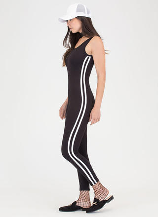 Varsity Team Plunging Striped Jumpsuit
