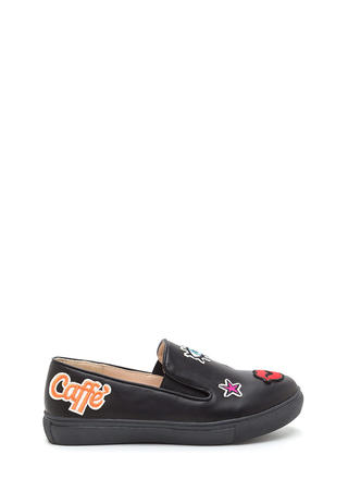 Patched Up Faux Leather Slip-On Sneakers