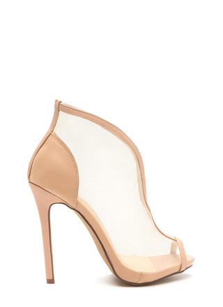 Sleek Sculpture Sheer Faux Leather Heels