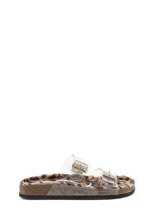 Clearly Wild Strappy Faux Fur Sandals