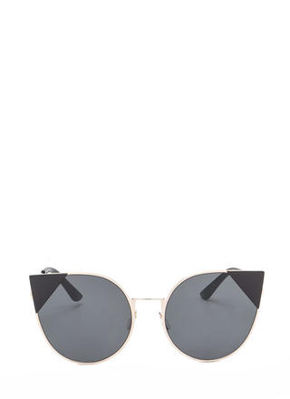 Feline Cute Tipped Rounded Sunglasses