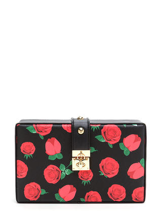 Rose Bouquet Faux Leather Clutch