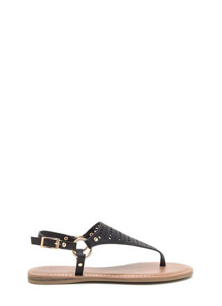 Shape Changer Perforated T-Strap Sandals
