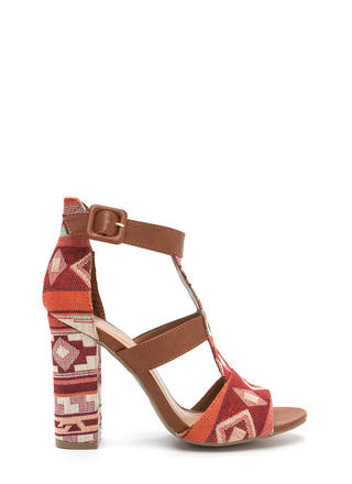 Tapestry Vibes Tribal Chunky Heels