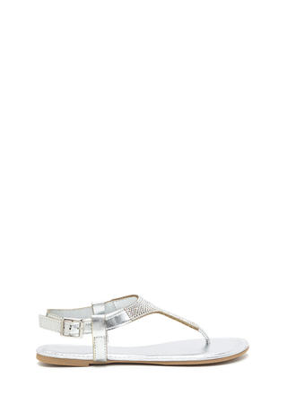 Dazzling Pick Metallic T-Strap Sandals