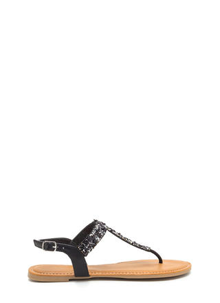 Seeking Treasure Jeweled T-Strap Sandals