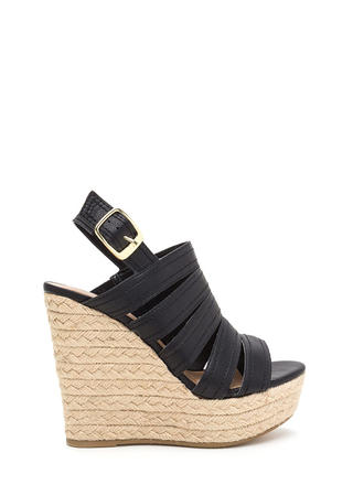 Take Five Strappy Espadrille Wedges