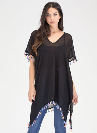 Pom-Pom Poncho Tassel Trim Cover-Up