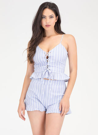 Weekend Love Striped Lace-Up Ruffled Set