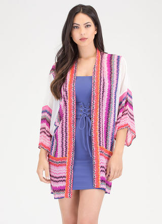 Off To Mexico Sheer Printed Kimono