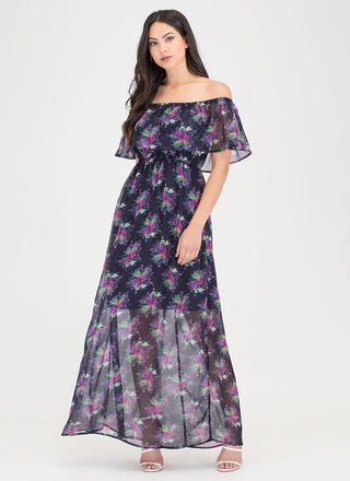 Vineyard Star Off-Shoulder Floral Maxi