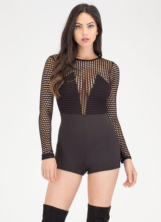 Dot Net Plunging Sports Mesh Romper