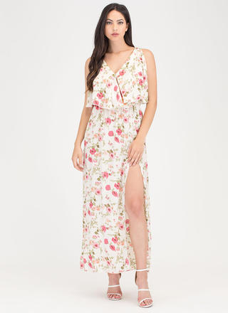 Garden View Tiered Floral Maxi Dress