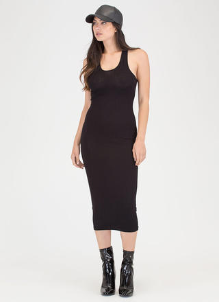 Everyday Beauty Rib Knit Midi Dress