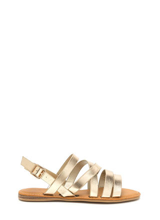 Strap Battle Caged Metallic Sandals