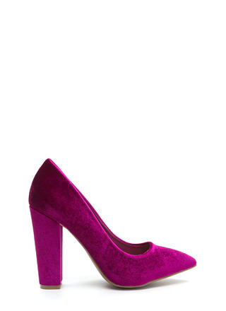 Point Taken Chunky Velvet Heels