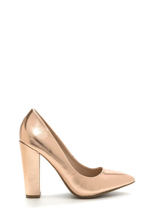 Point Taken Chunky Metallic Heels