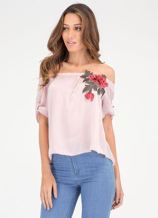 Billow Me Away Off-Shoulder Rose Top