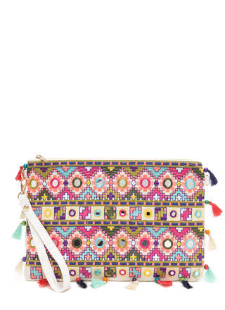 Worth The Tassel Embroidered Clutch