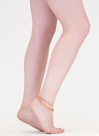 Feet First Chain 'N Faux Jewel Anklet