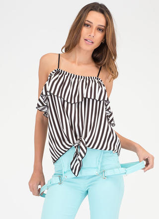 Earn Stripes Knotted Off-Shoulder Top