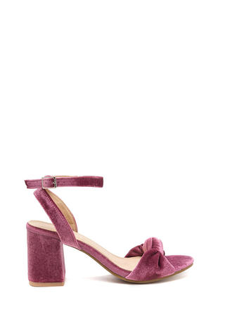 Plush Hard Knotted Velvet Block Heels