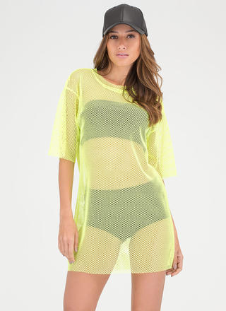 World Wide Net Sheer Oversized Top