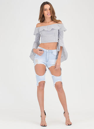 Just Destroyed Denim Bermuda Shorts