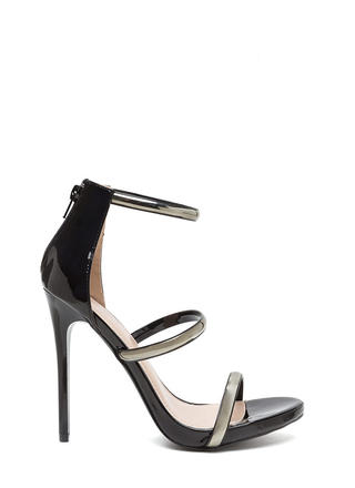 Strappy Decision Faux Patent Heels