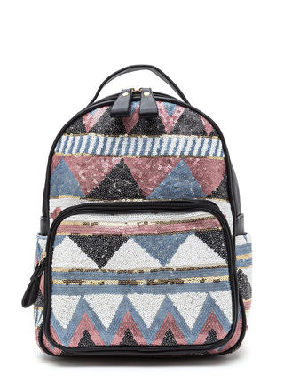 Geo All The Way Sequined Backpack