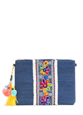 Boho Darling Embellished Denim Clutch