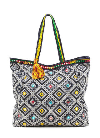 Flashing Lights Oversized Woven Tote Bag
