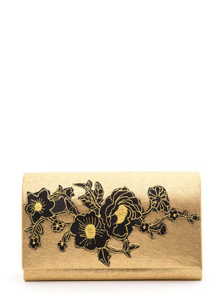 Super Bloom Embroidered Metallic Clutch
