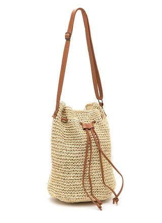 Natural Woman Woven Straw Bucket Bag