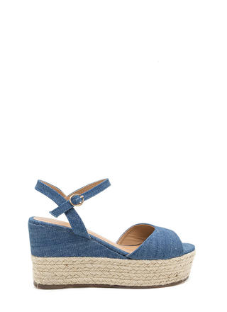 Boho Story Denim Espadrille Wedges