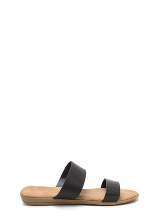 Double Up Faux Leather Slide Sandals