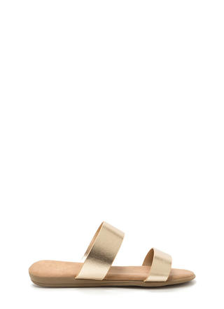 Double Up Metallic Slide Sandals