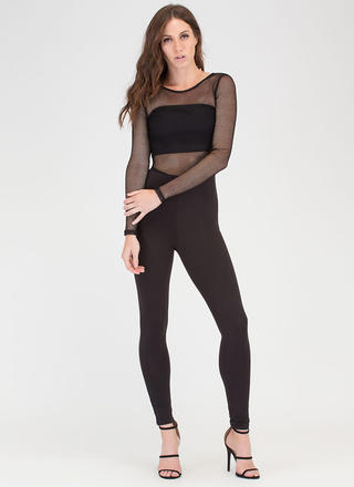 Sheer Determination Cut-Out Net Jumpsuit