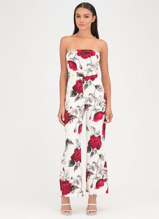 Rose Parade Strapless Palazzo Jumpsuit