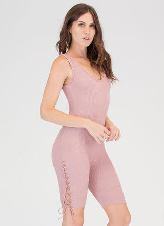Laced With It Cropped Knit Jumpsuit
