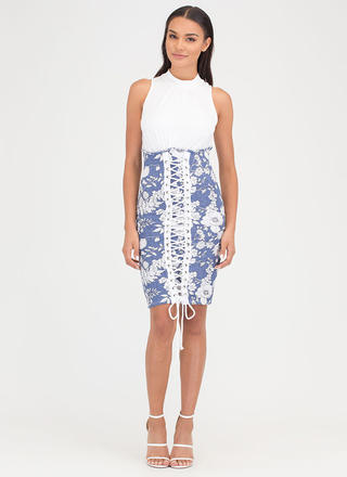 Skirt's The Word Floral Lace-Up Dress