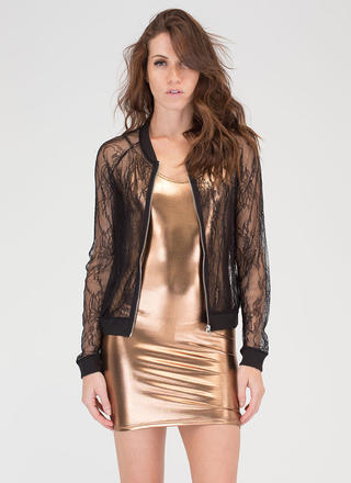 Lace Do This Sheer Bomber Jacket