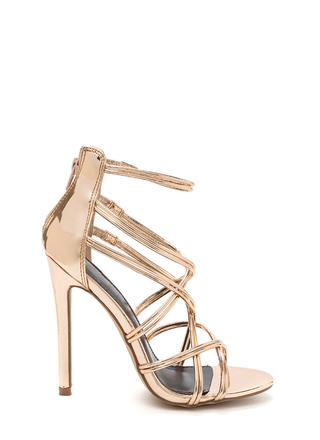 Stylish Step Metallic Caged Heels