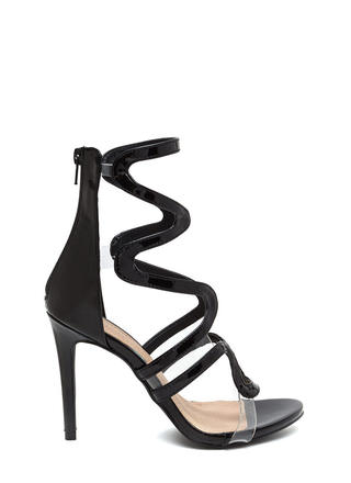 Around The Bend Caged Faux Patent Heels
