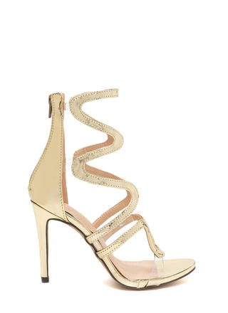 Around The Bend Caged Metallic Heels