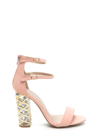 Lattice Start Chunky Strappy Clear Heels