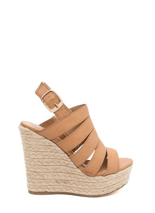 Off Duty Faux Leather Espadrille Wedges