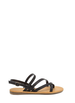 Strappy Times Faux Leather Caged Sandals