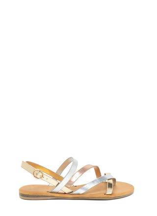 Strappy Times Metallic Caged Sandals